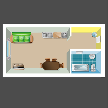 kitchen cabinets: House or floor plan design top view. Vector illustration