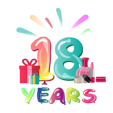 18th Anniversary Celebration Design with gift box