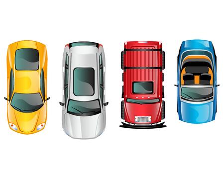 Diverse automobili vista superiore posizione