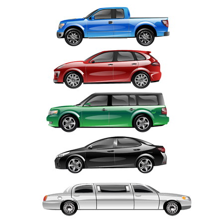 Different passenger car vector.