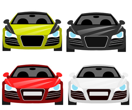 Car flat vector icons in front view. Illustration