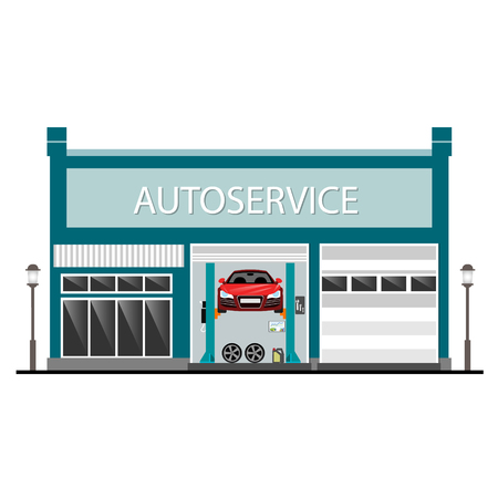 自動車サービス センター  イラスト・ベクター素材