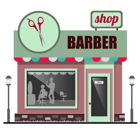 barbershop: Facade barbershop flat design.