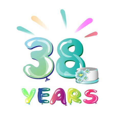 38 Years Birthday Celebration greeting card Stock Photo