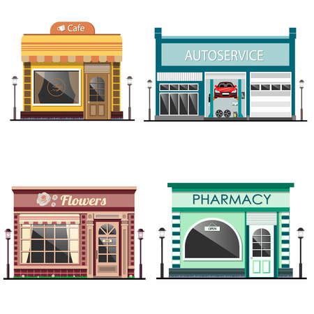 Set of detailed flat design city facade buildings. Vector illustration