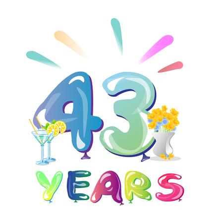 43 Years Anniversary celebration balloons
