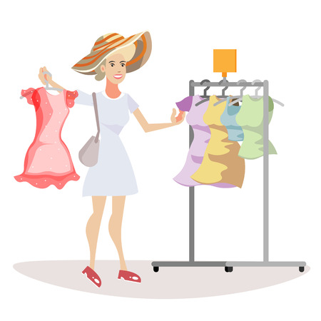 Woman chooses what to wear Vector flat cartoon illustration Illustration