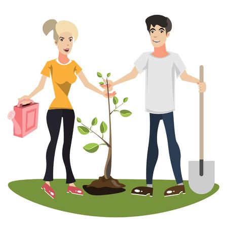 Woman and man planting a tree Vector illustration Illustration