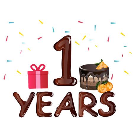 Birthday card first birthday with chocolate cake