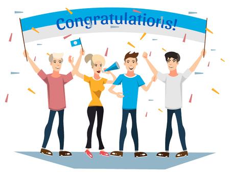 Persone che hanno segno di congratulazione.