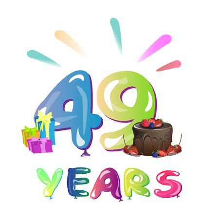 49e jaar jubileum viering ontwerp illustratie.