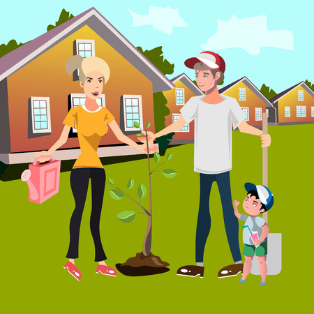 Happy family planting trees in courtyard. Vector illustration Vettoriali