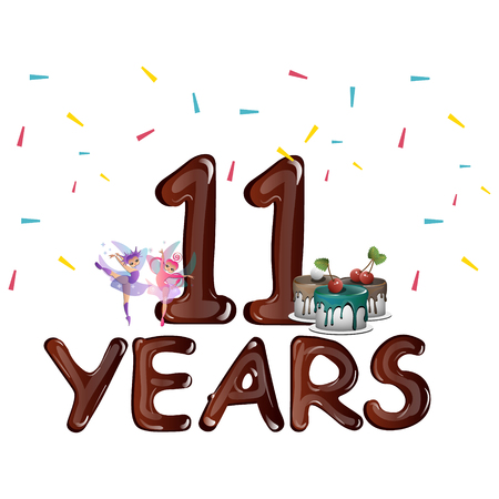 eleventh birthday: Happy 11th Birthday Illustration