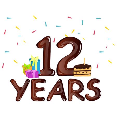 Alles Gute Zum Geburtstag Acht 8 Jahre Grusskarte Lizenzfrei