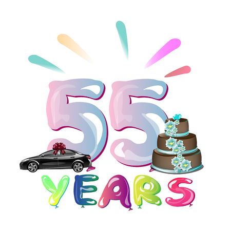 Happy Birthday fifty five 55 year Vectores