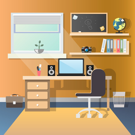 Teenage guy room with workplace.