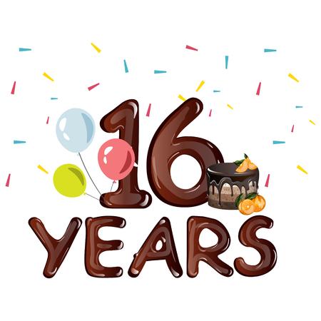 16 years Birthday celebration greeting card