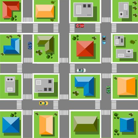 通り、道、家および車のトップ ビュー市  イラスト・ベクター素材