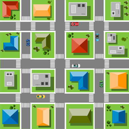 Bovenaanzicht stad met straten, wegen, huizen en auto's