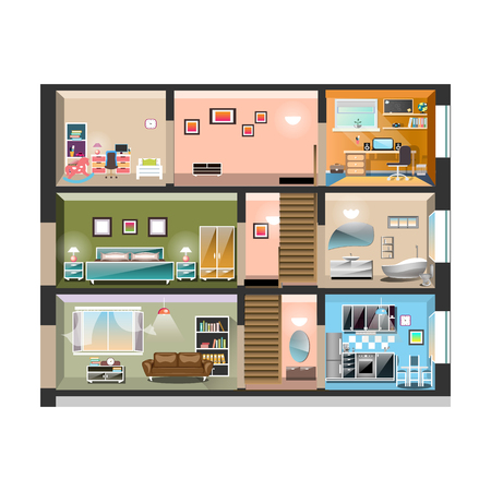House cross section with room interiors 向量圖像