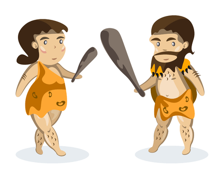 neanderthal women: Ancient people on white background. Illustration