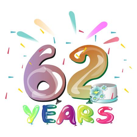 Happy 62nd birthday royalty free cliparts vectors and stock happy 62nd birthday stock vector 83811905 m4hsunfo