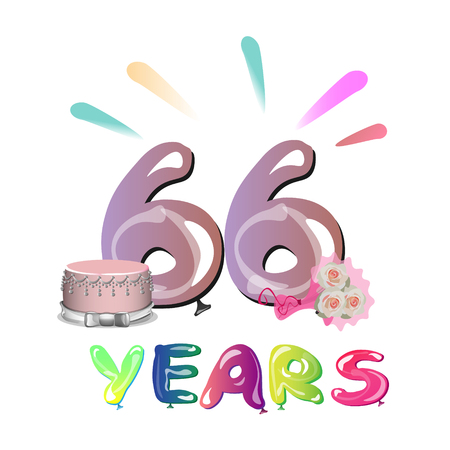 66 years anniversary celebration greeting card.