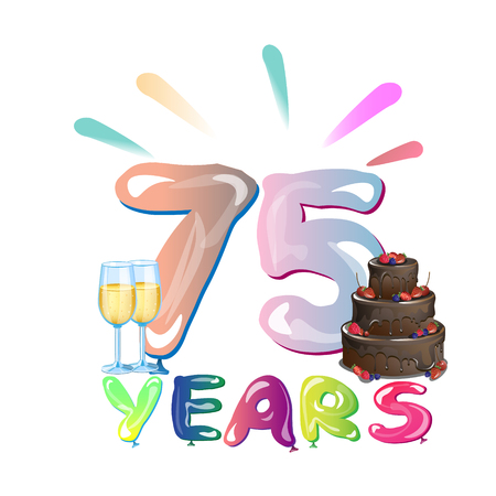 75 th Anniversary greeting card with cake. Vector illustration