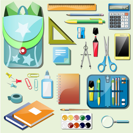 Set school accessories