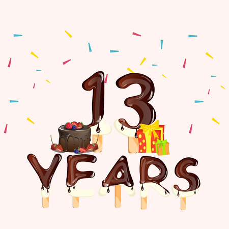 13 Years Birthday Celebration, with cake and gift Illustration