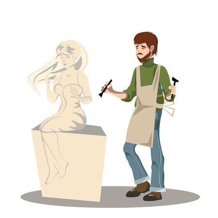 若い男の彫刻家は彼の彫刻に取り組んでいます。