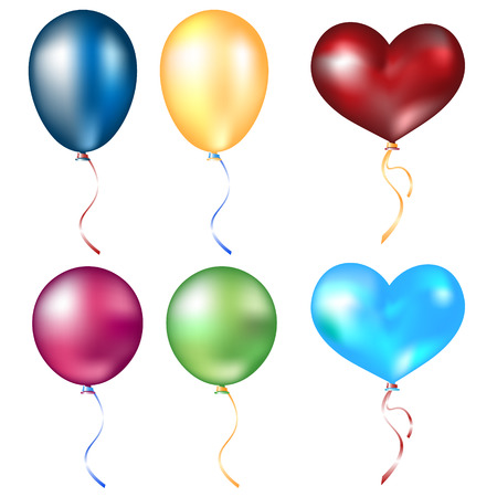 Realistic different balloons set Vector illustration.