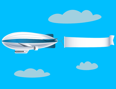 Airship with empty banner Vector illustration.