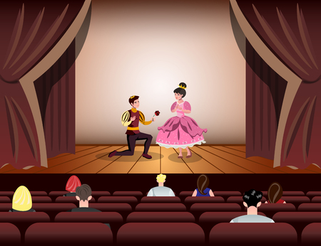 Theater actors dressed Like a Prince and a Princess on stage