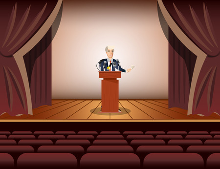 rostrum: Public speaker standing and speaking to microphones.