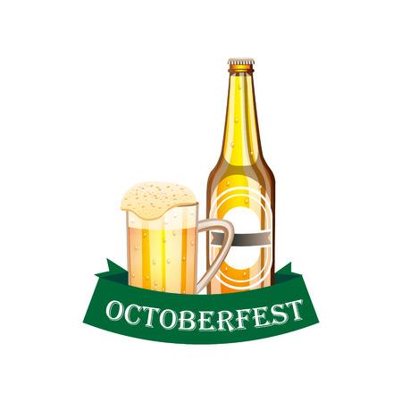 pretzel: Beer festival poster with bottle and a glass of beer Illustration