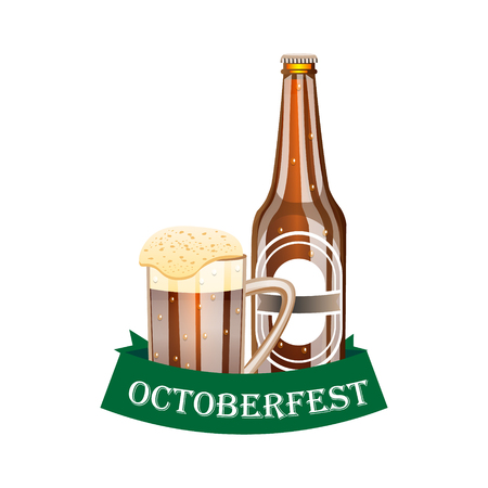 Octoberfest banner with ribbon and beer. Illustration