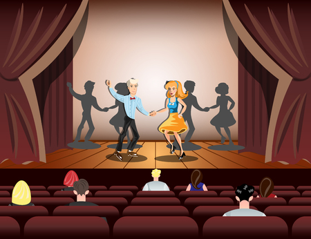Couple dancing on theatre stage Illustration