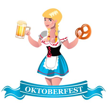 Oktoberfest beer with girl