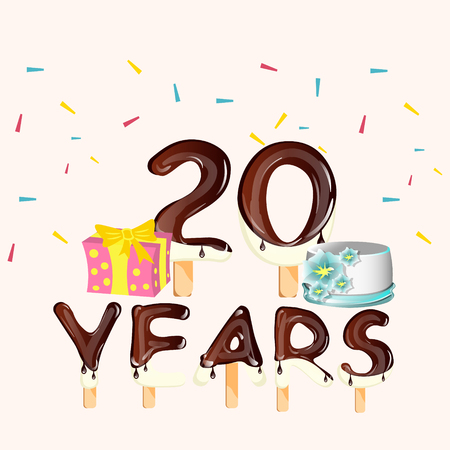 Happy Birthday twenty 20 year card with number Illustration