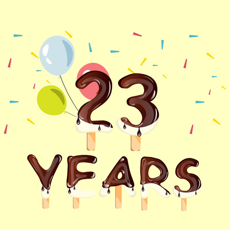 23 Years Birthday Design for greeting cards Illustration