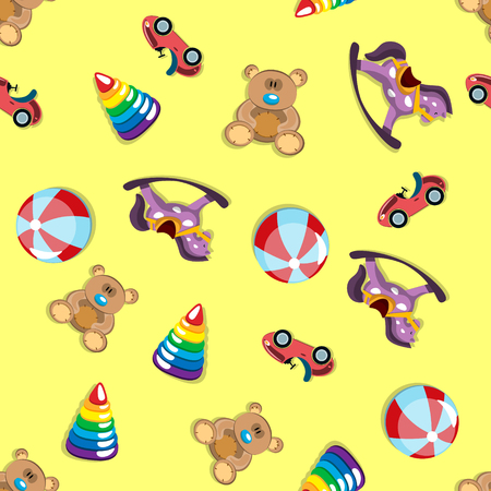 Children s different toys seamless pattern. Vector illustration