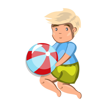 Small boy playing with a ball. Vector illustration
