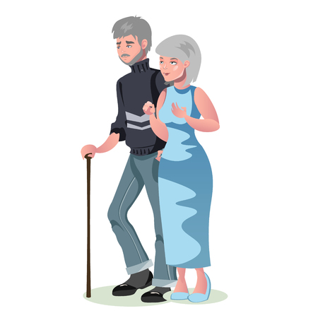 Old man and woman isolated.