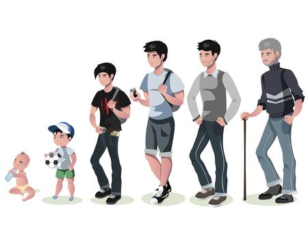 Cycle de la vie pour les hommes. De bébé à senior.
