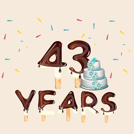 43 Years Happy Birthday card. Illustration