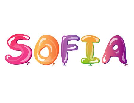baby announcement card: Girl s Name Sofia written balloons