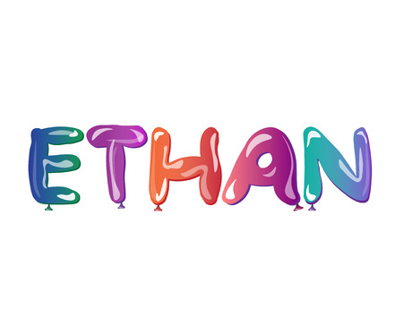 Ethan male name text balloons. Illustration