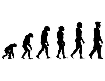 Silhouet vooruitgang Mens evolutie. Stock Illustratie