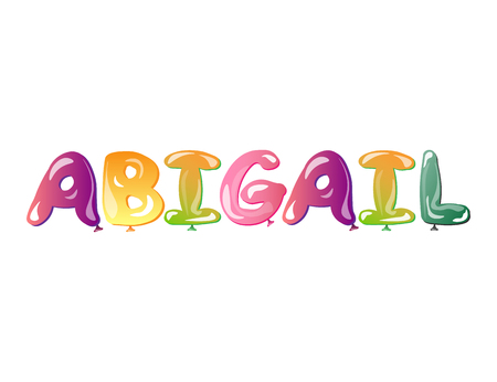 baby announcement card: Abigail girls name text balloons
